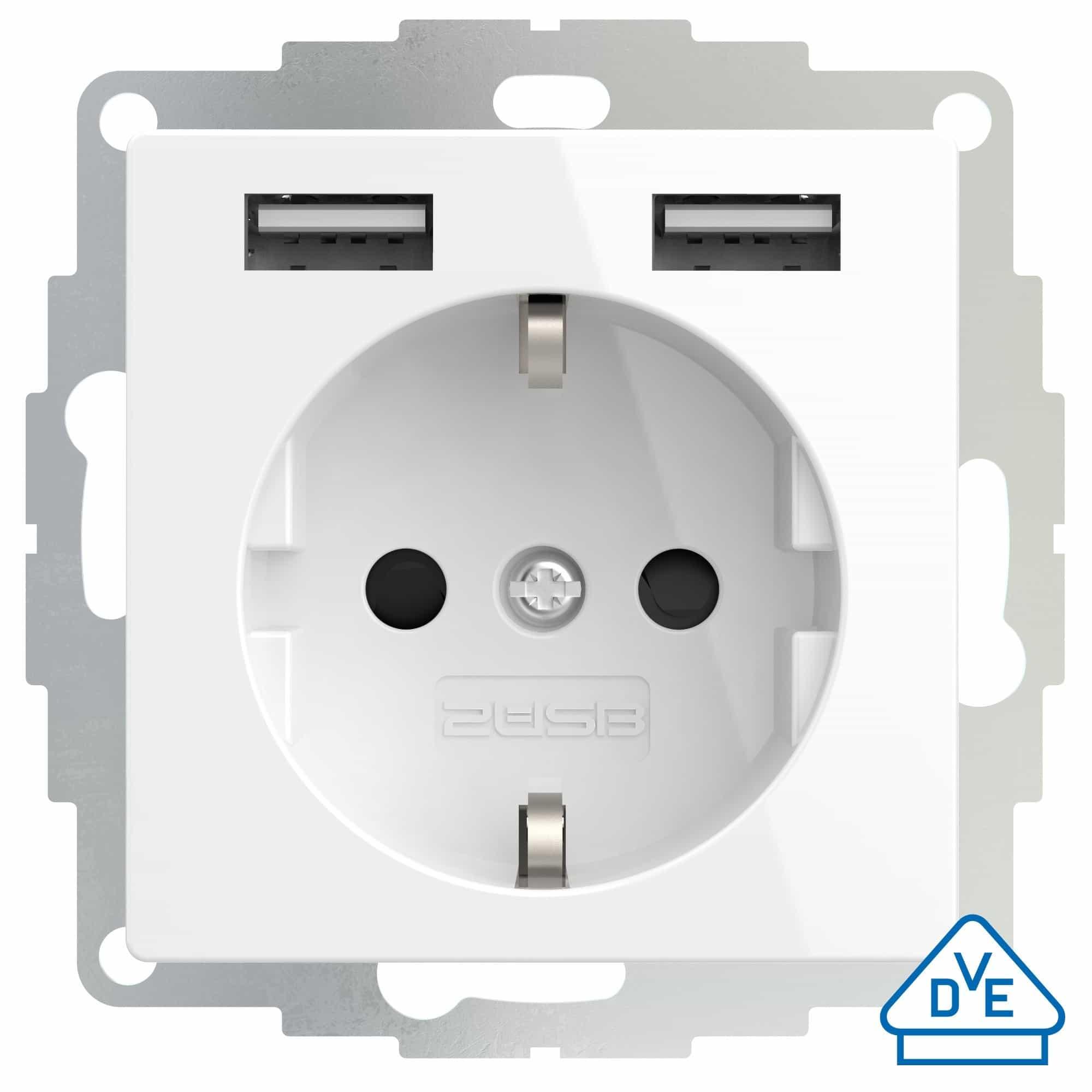 2USB Schutzkontakt-Steckdose 2x USB-A inCharge Pro55 reinweiß glänzend 55x55mm RAL9010 106202