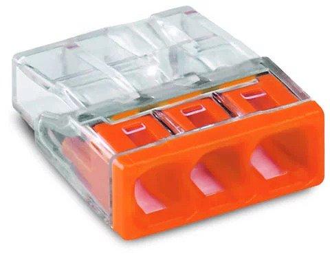 WAGO 2273-203 3-Leiter 3x0,5-2,5 starr orange Verbindungsdosenklemme VPE100