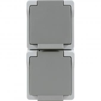 Presto Vedder 2F FR-Steckdose senkrecht grau IP44 9322S