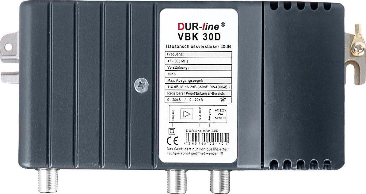 DuraSat DUR-line VBK 30 D1 - Verstärker BK Hausanschlussverstärker aus massivem Druckguss mit 30 dB Verstärkung - Dämpfung und Entzerrung regelbar zur exakten Pegeleinstellung bei langen Leitungswegen