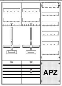 Striebel & John Komplettschrank KS222Z 2/3A  2 Zähler 1 Verteilfeld/5Reihig mit APZ 1100x800x215mm 2CPX035881R9999