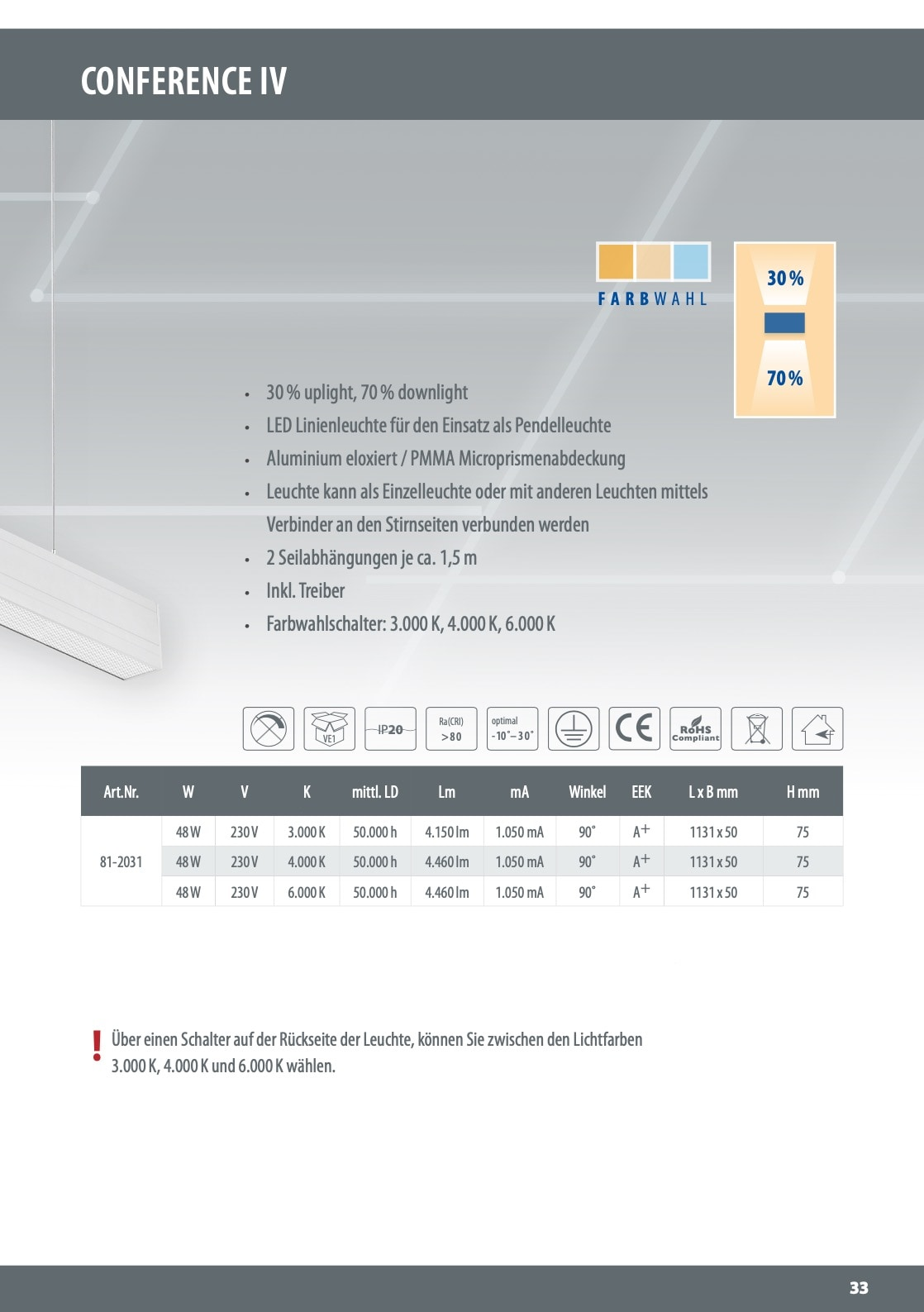 M-light LED-Pendelleuchte CONFERENCE up and down 48W,230V 3 Lichtfarben 3000/4000/6000 #81-2031