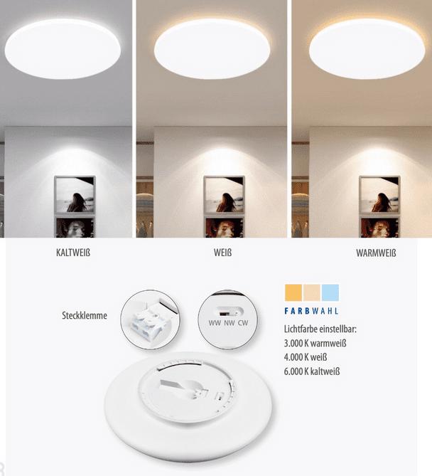 """M-Light LED Deckenleuchte """"Arnold"""" 30W 3000K/4000K/6000K 2550m Durchmesser 40cm"""