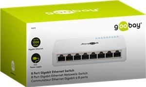 Goobay 8 Port Gigabit Ethernet Netzwerk-Switch mit 8 RJ45-Anschlüssen 10/100/1000Mbps Auto-Negotiation 93373