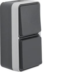 Berker Kombination Wechselschalter/Steckdose SCHUKO mit Klappdeckel AP W.1 grau 47803515