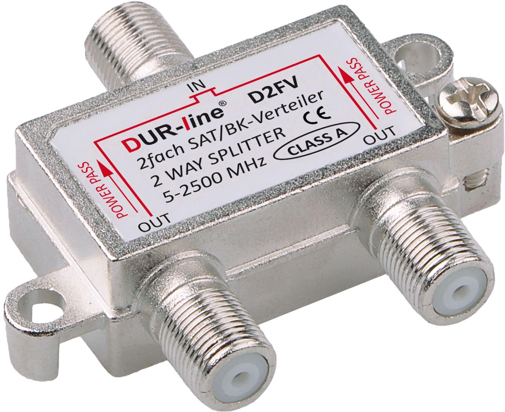 DuraSat BK/SAT-Verteiler 2Fach DUR-line D2FV 5-2500 MHz mit DC-Durchlass