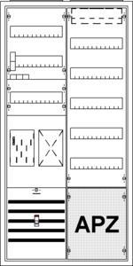 Striebel & John Komplettschrank KS729Z 2/3A 1 EHZ-Zähler 1 Verteilfeld/5Reihig mit APZ 550x1100x215mm