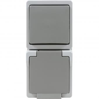 Presto Vedder Kombination Universalschalter/Steckdose grau IP44 93206